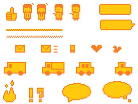 Dot picture set SNS icon balloon etc