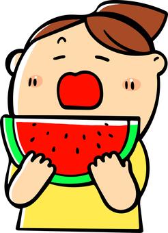수박을 먹으려 고하는 여자