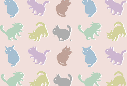 貓圖案(粉紅色)