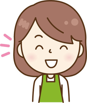 Smiley apron women green