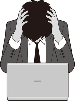 Male businessman holding a head (personal computer)