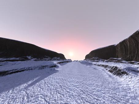 雪の崖谷の朝