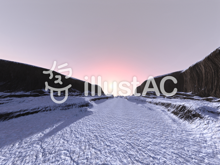 雪の崖谷の朝のイラスト