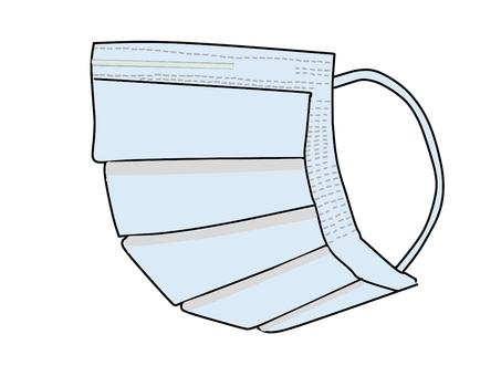 Pleated mask (horizontal) blue