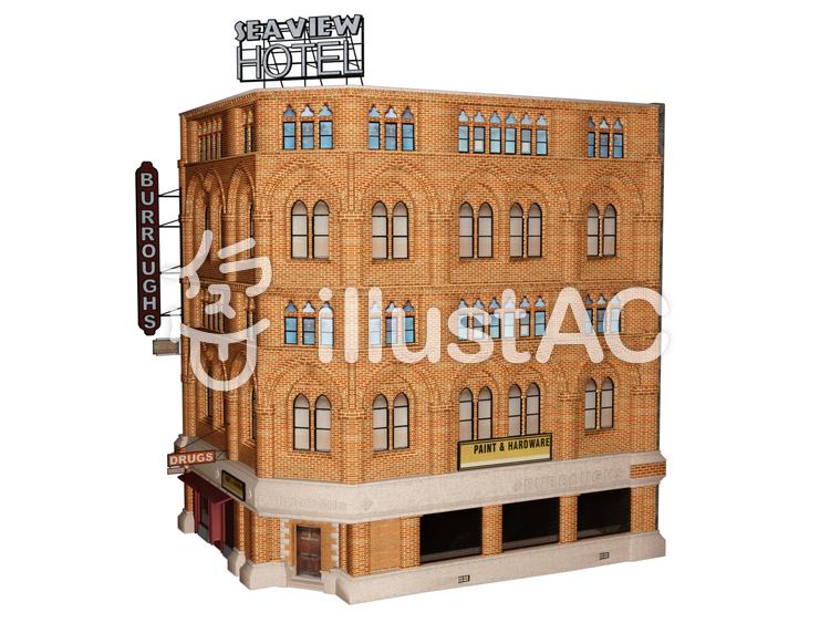 一階バーラウンジのレンガ造りのホテルのイラスト