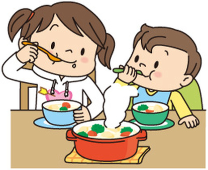 Two children eating stew
