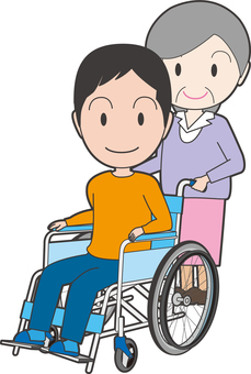 A man sitting on a wheelchair and an accompanying old lady