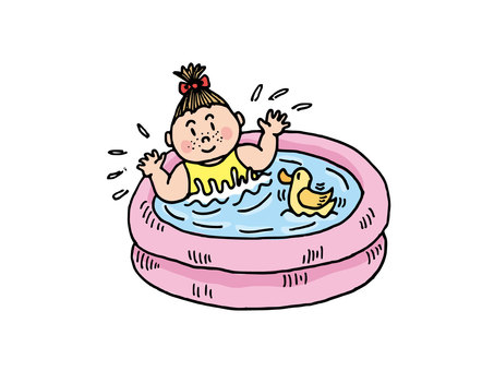 Girl playing in a vinyl pool