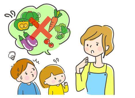 野菜が苦手な子供と悩むママ