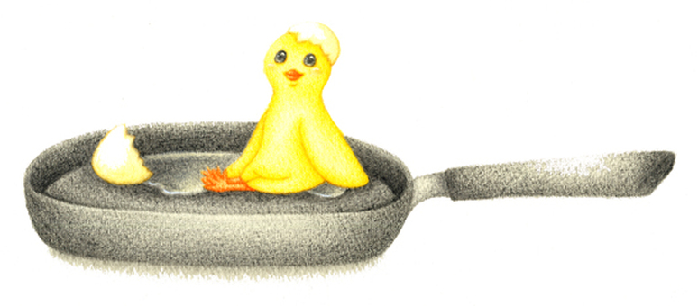 A chick with a frying pan