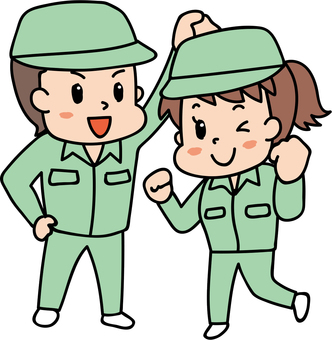 Energetic man and woman / work wearing green 3