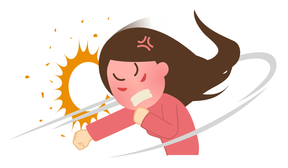 Illustration of a woman who scolds something 【Angry ・ Kill】