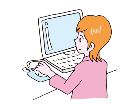 A woman with a computer