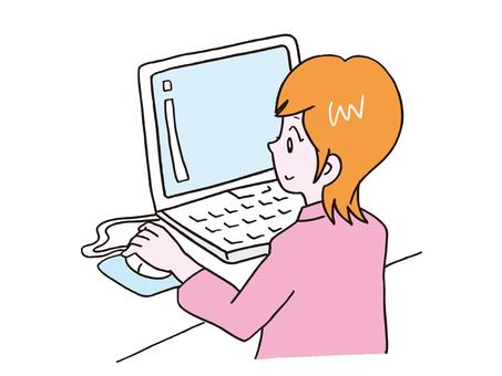 一台電腦的女人