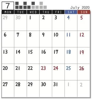 2020 Calendar block July