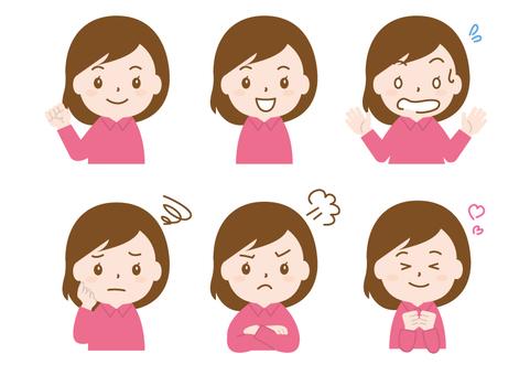 Female icon facial expression set without kei