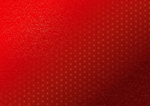 Hemp leaf pattern gold leaf scattering (red)