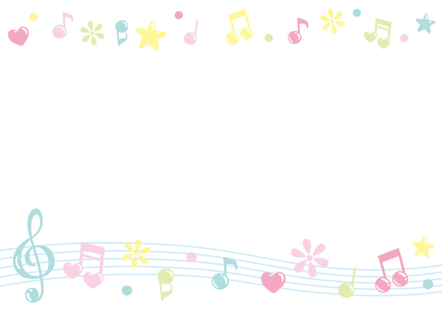 Musical note and flower and Heart star