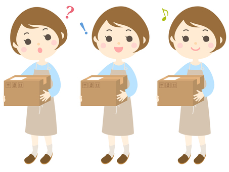 Woman _ housewife in apron appearance with cardboard box