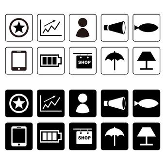 Graph, megaphone, smartphone icon set