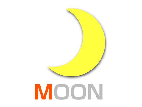 English word card M MOON