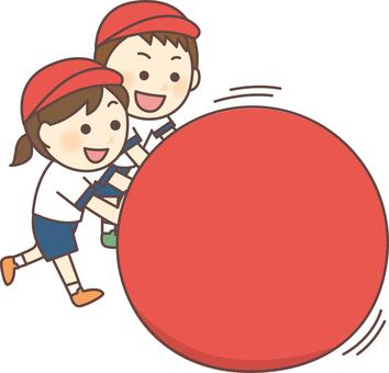 大玉転がし(赤白帽・赤組)