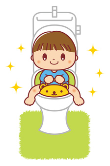 Toilet training boy illustration