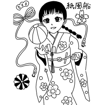Paper balloons and girl coloring page
