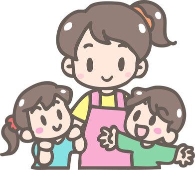 教師和兒童(女)