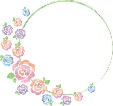 Pastel's rose_ round frame
