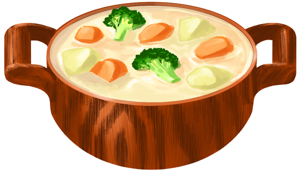 Cream stew wooden pan without contours