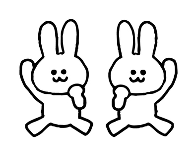 Guts pose rabbit set (animal simple)