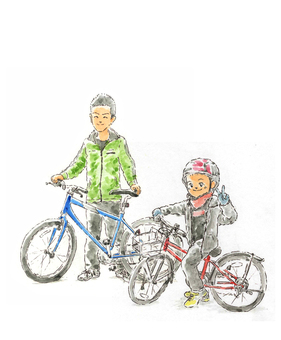Parent and child by bicycle