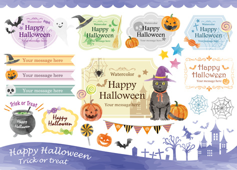 Halloween watercolor frame set