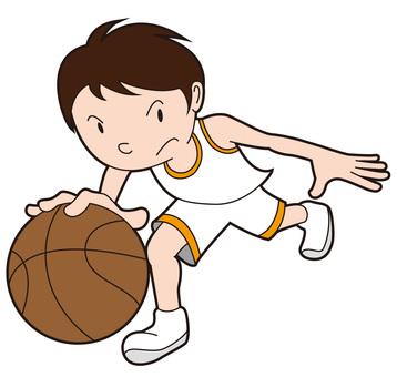 Basketball boy doing dribbling