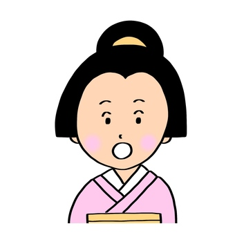 A woman in the Edo period of the surprised face · Waist upper part