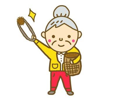 Granny who enjoys chestnut picking