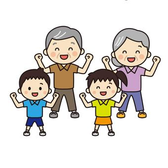 Elderly couple and grandson doing gymnastics