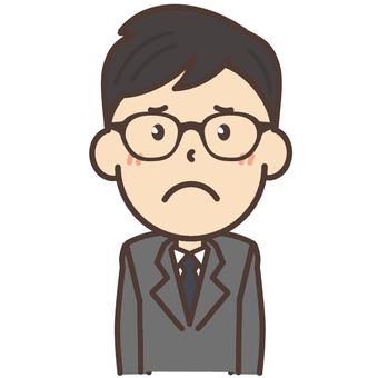 Employee of black glasses glasses worried