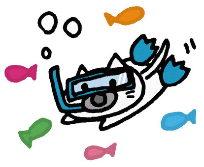 Snorkeling cat (no background)