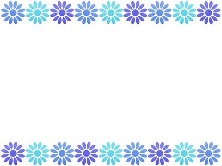 お花のフレーム ブルー系