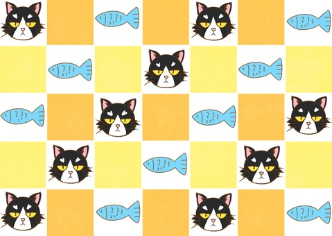 Cats and fish with checker flag Flag pattern wallpaper