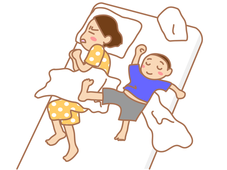 Parent and child sleeping