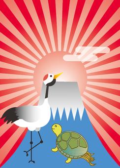 Crane, Turtle and Mt. Fuji