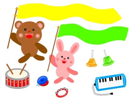 Musical instrument and bear and rabbit
