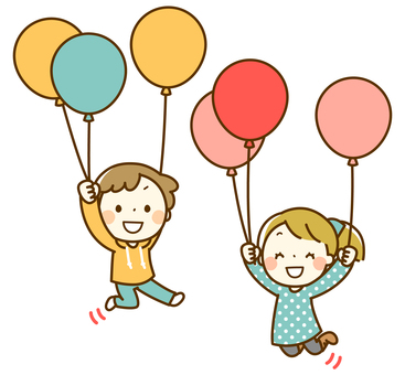 Children to jump with balloons