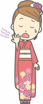 Kimono female a - Yawning - whole body