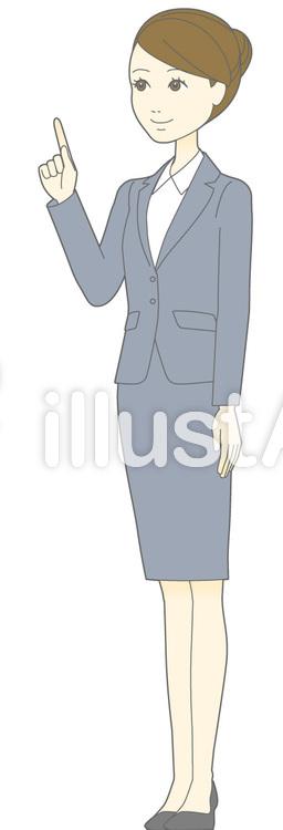 D女性スーツ-指差し-斜め全身のイラスト