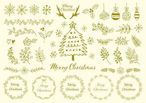 手描きのクリスマス素材ゴールド