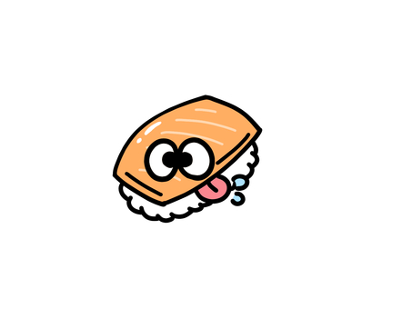 自分にヨダレをたらすお寿司サーモン